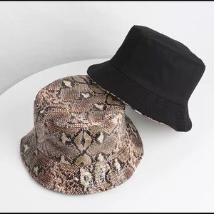 Accessories - Double Sided Snake Print Bucket Hat